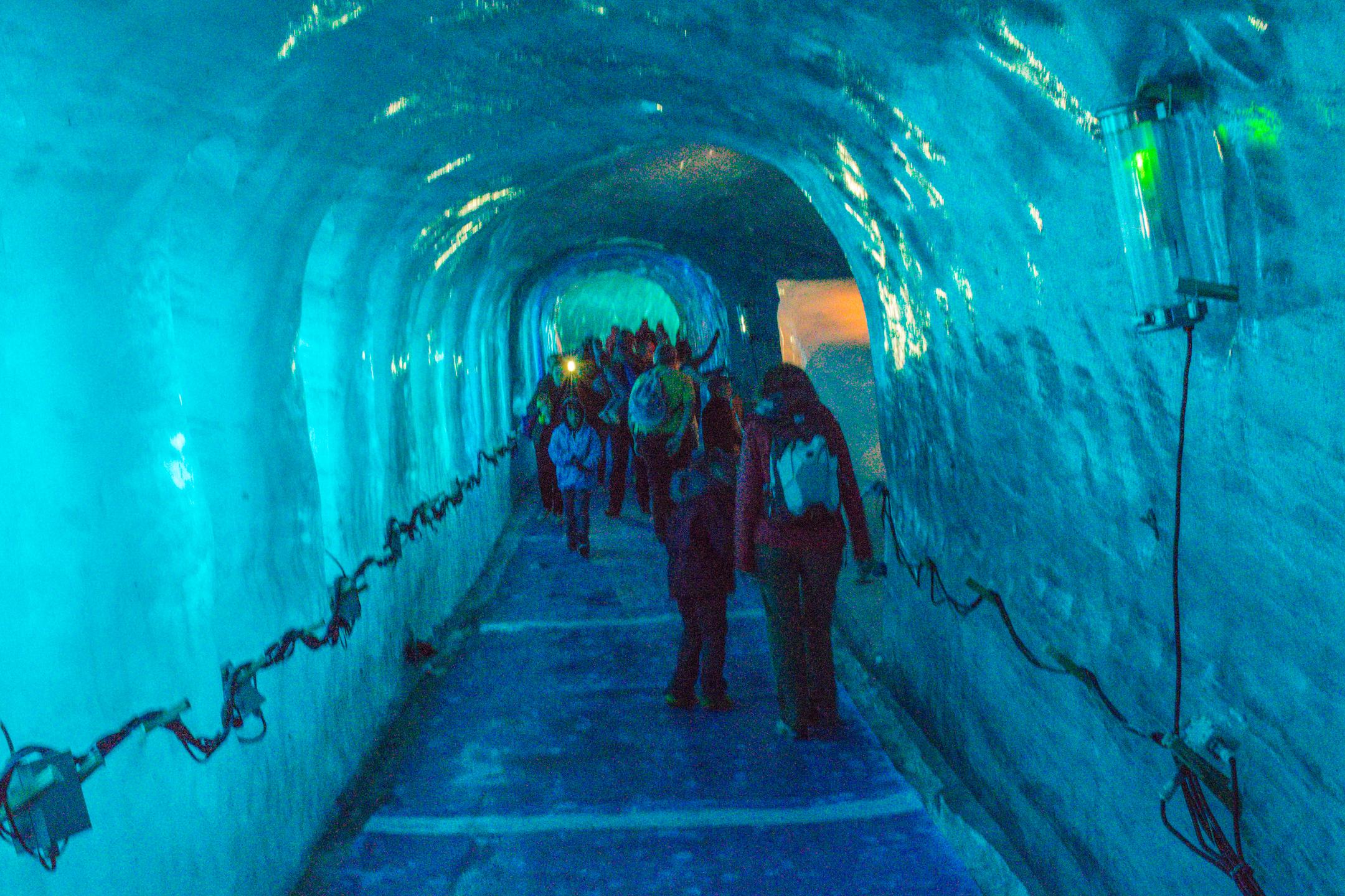 Inside a glacier at La Mer de Glace